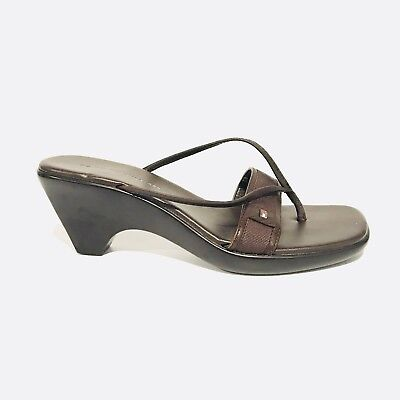 1559baaecc28 Tommy Hilfiger Martina Wedge Thong Brown Strappy Sandals Women s Size 9 M