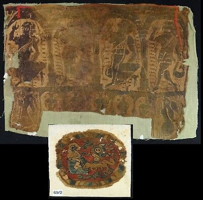 "2 Fantastic Ancient Coptic Textiles w/figures. 15"" x 11"" & 6"" Round.  4th/7th c."