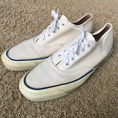 US Keds Boat Shoe USA Made Mens 7 Vintage 60s 70s White Canvas Arch Cushions