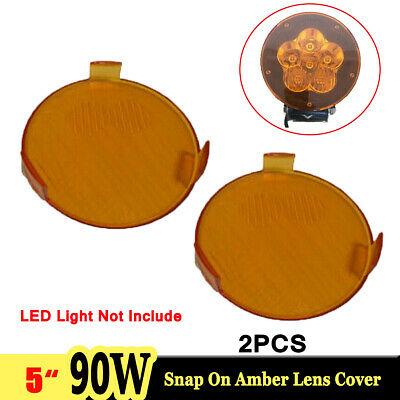 """2X Snap On Amber Lens Cover for 5"""" inch 90W 60W 45W Round LED Work Light Offroad"""
