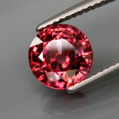 3.14Ct.Ravishing Color&Full Sparkling! Natural Pink Zircon Tanzania Round 8mm.