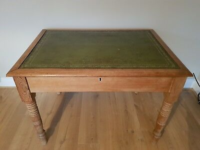 Antique Victorian Writing Table. Two Drawers. Leather Desk Lid. Original