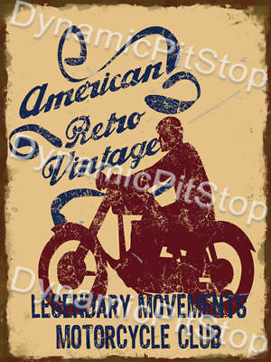 30x40cm American Retro Vintage Motorbike Rustic Tin Sign or Decal