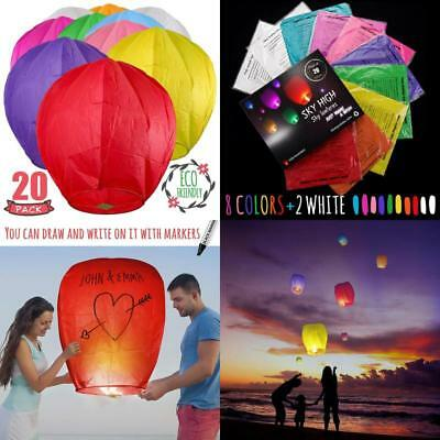 Chinese Sky Lanterns Biodegradable Paper Valentines Festival Memorial 20 Pack