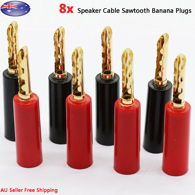 8x Sawtooth Gold Plated Speaker Cable Connector 4mm Banana Plugs Jack AU