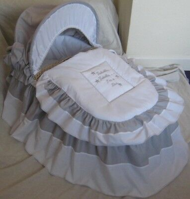 Twinkle Star Grey And White Moses Basket Cover Set By Babyfanzone
