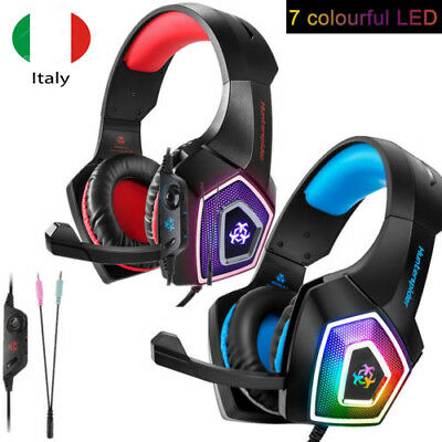 Cuffie da Gioco Gamer PS4 PC Xbox LED con Microfono Stereo Auricolari Volume IT