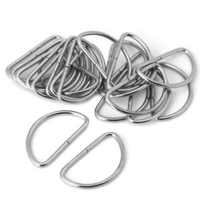 20pcs Silver D-Ring Buckle Fit For 12/1520/32/38mm Strapping Webbing Leather Bag