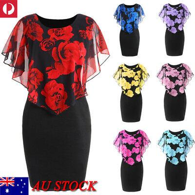 AU Women Floral Bodycon Mini Dress Party Cocktail Evening Prom Ladies Sexy Dress
