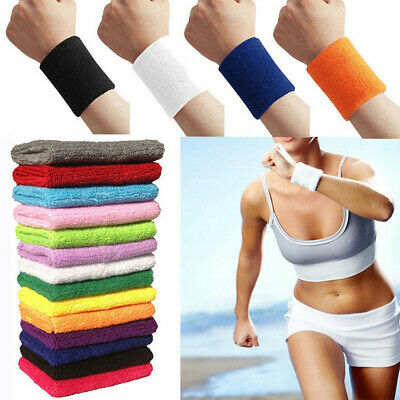 Sports Wrist Sweat Bands Wristbands Unisex 80s Fitness Sweatbands Gym Tennis UK