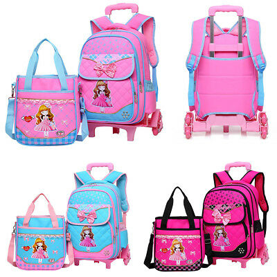 2Pcs Children Girls Bowknot School Bag Trolley Backpack Removable With Wheels