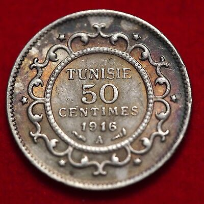 TUNISIA -  50 Centimes 1916 A XF+ Silver French Protectorate - Lot #609