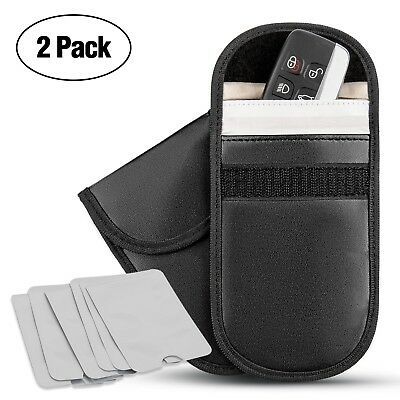 2 X RFID Keyless Car Key Anti Fraud Theft Entry Signal Blocker Faraday Bag Pouch