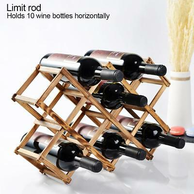 Durable Timber Wine Rack Wooden Storage Organiser Stand  Foldable 10 bottle