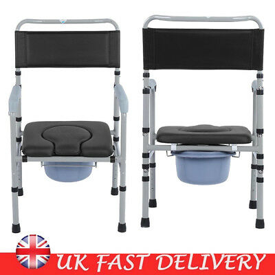 Folding Toilet Commode Chair Shower Chair Wheelchair Mobility Disability Aid