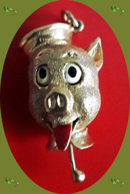 ***Pig Charm, 9ct Gold Hallmarked. Movable. Vintage Porky Pig Type,8.4gm***