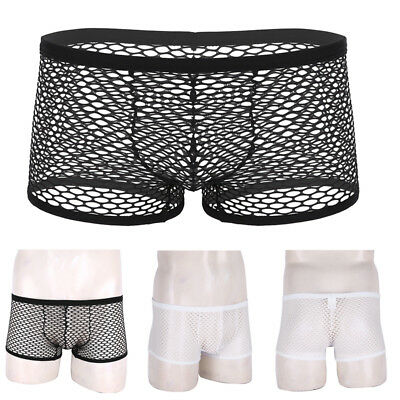 Mens Fishnet Boxer Briefs Mesh Sheer Underwear Shorts Pouch Panties Trunks Pants