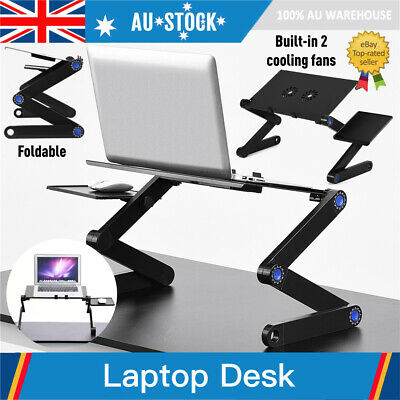 Adjustable Simple Laptop Desk Table Stand Holder w/ Cooling 2 Fan Mouse Board AU