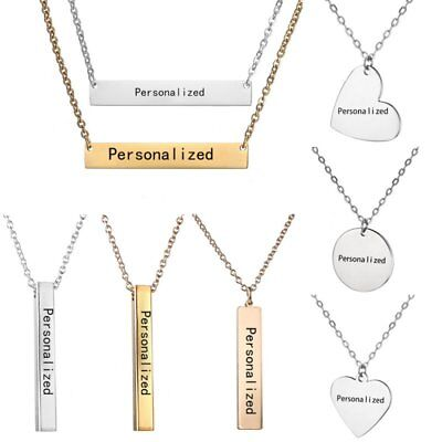 Personalized Engraved Custom Name Bar Letters Stainless Steel Necklace Pendant