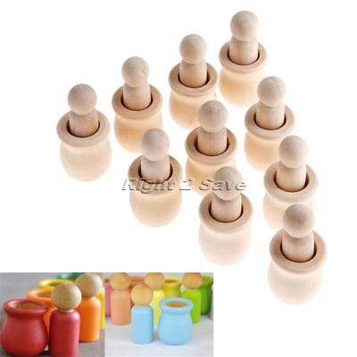 10pcs Unpainted Blank Wooden Peg Dolls People Nesting Crafts DIY Creative Toy