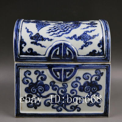 "7"" Ming xuande China antique Porcelain blue white Phoenix jewelry box pot"