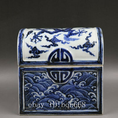 "7"" Ming xuande China antique Porcelain blue white dragon jewelry box pot"