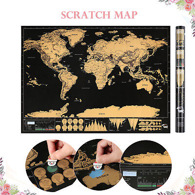 BIG Scratch Off World Map Poster with States and Country Flags 82.5 x 59.4 cm