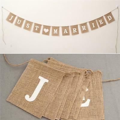 """Just Married"" Wedding Rustic Vintage Burlap Hessian Jute Bunting Banner MA"