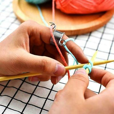 Finger Wear Thimble Ring Yarn Spring Guides Stainless Steel Knitting Tool MA