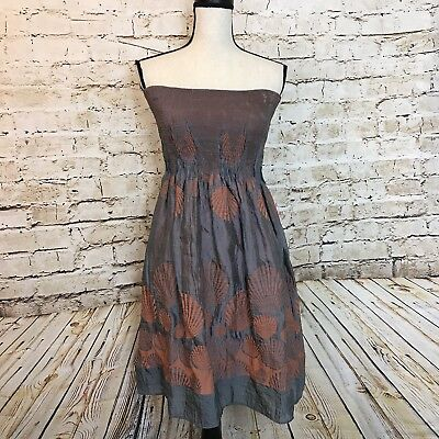 7117093d64f Lapis Womens One Size Fits All Grey Orange Floral Strapless Dress Skirt  Beach