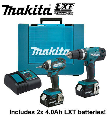 Makita 18V LXT Li-ion Combi Drill & Impact Driver Twin Pack inc 2x 4AH Batteries