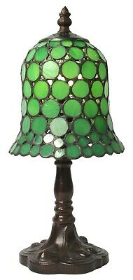 32Cm Tiffany Style Table Lamp Green Spot Glass Shade 15Cm Free Light Bulb
