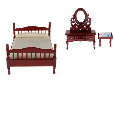 1/12 Dollhouse Bedroom Miniature Bed Dressing Table And Stool Red Decor
