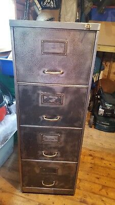 Vintage Stripped Sankey Sheldon 4 Draw Filing Cabinet Complete With Key And...