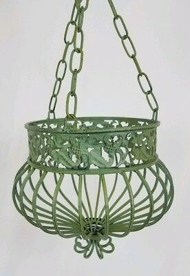 Vintage wrought iron hanging planter basket verdigris Victorian Cottage