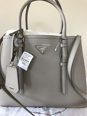 791bd6ddb27b ... new zealand prada double saffiano cuir md light gray tote bag authentic  49470 02867 ...