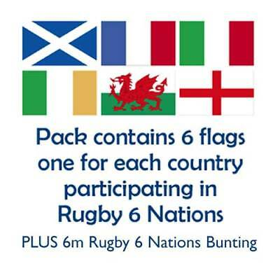Rugby Six Nations Flags & Bunting England Ireland Scotland Wales Italy France