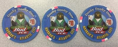 THREE $10 Harrah's Atlantic City Bud Ice Dooby Chips - Uncirculated