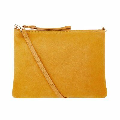 Accessorize Monsoon Yellow Claudia 100%Leather Suede Cross Body Clutch Bag New
