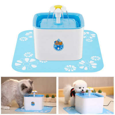 Flower Automatic Electronic Pet Cat Dog Water Drinking Fountain Bowl Filter 2.5L