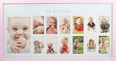 Baby's First Year Frame in Elegant Pink Natural Wood - My First Year Baby Gir...