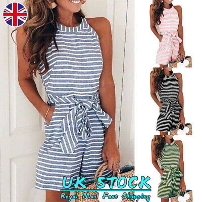 Women Striped Sleeveless Short Jumpsuit Ladies Summer Casual Playsuit Size 8-16