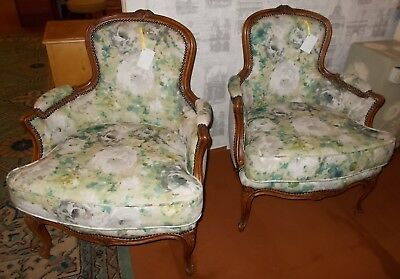 Pair Of Vintage French Louis Xv Style Walnut Fauteuils/ Bergere Armchair
