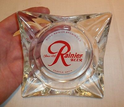 Vintage NOS Rainier Beer Ashtray - Sicks Rainier Brewing Company