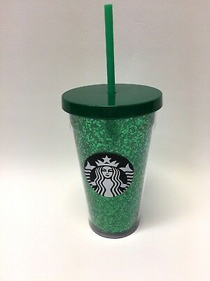 Starbucks 2018 Holiday Green Glitter Cold Cup Grande 16oz. NEW Free Ship