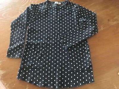 Zara Kids Girls Charcoal Grey With White Long Sleeve Top Size 11/12