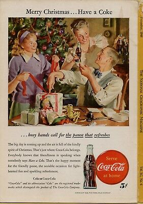 1946 Vintage Coke Coca Cola Family & presents Christmas ad National Geographic