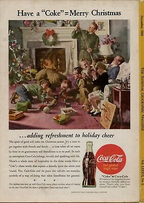 1944 Vintage Coke Coca Cola Family & soldiers Christmas ad National Geographic