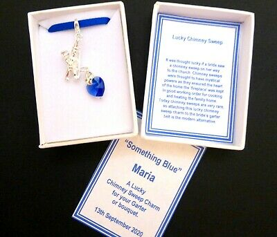 Lucky Chimney Sweep Something Blue Wedding Clip-on Charm for Brides Garter