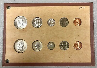 1957 P & D U.s. Mint 10 Coin Uncirculated - Bu Complete Set In Holder! Nr!